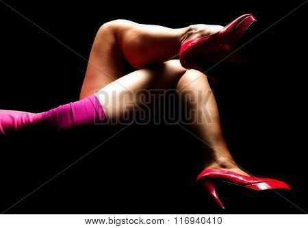 Womans In Pink Legs Highlighted Lay Twisted