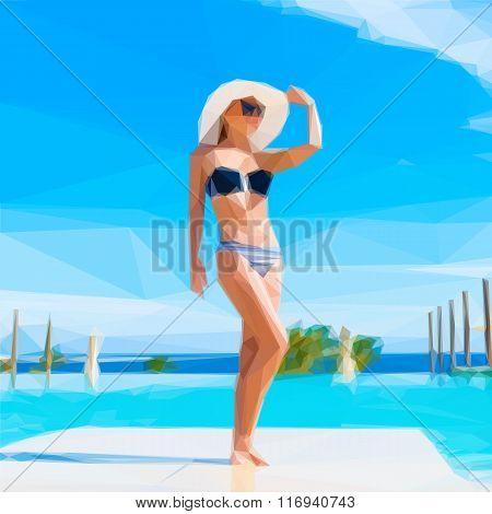 Vector image of girl at swimming pool
