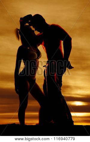 Silhouette Of Woman In Bikini Stand Hand On Thigh With Cowboy