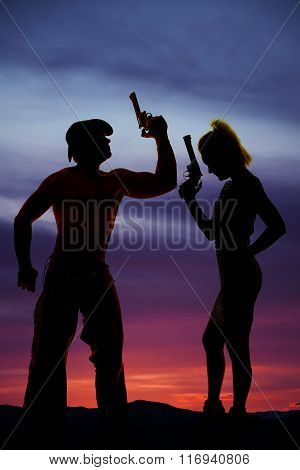 Silhouette Of Woman In Short Dress Side With Gun With Cowboy