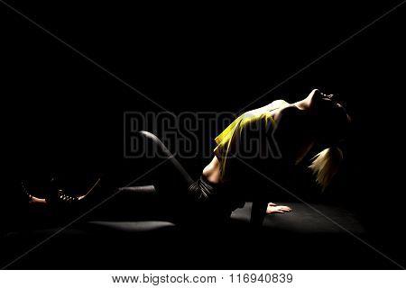 Woman Highlighted Yellow Shirt Lay Back Head Back