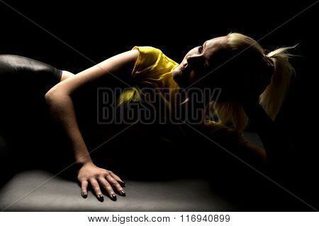 Woman Highlighted Yellow Shirt Lay On Side Look Up