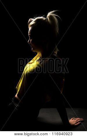 Woman Highlighted Yellow Shirt Sit Close