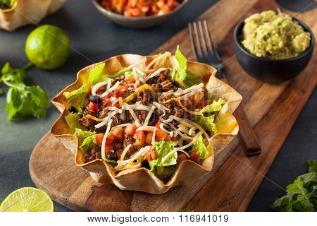 Taco Salad In A Tortilla Bowl
