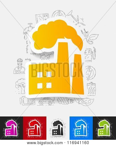 factory pipes paper sticker with hand drawn elements