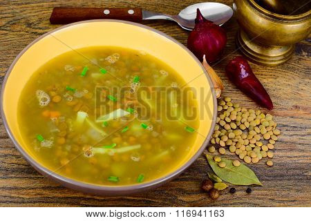 Healthy and Diet Food: Soup with Lentils and Sausage.