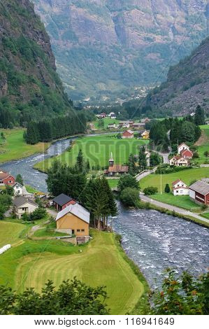 Country houses in village in Norwegian, fjords,landscape ,outdoors,river,vertical