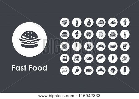 Set of fast food simple icons