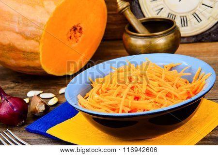 Pumpkin salad, salt, sugar, onion, garlic, vegetable oil, balsam
