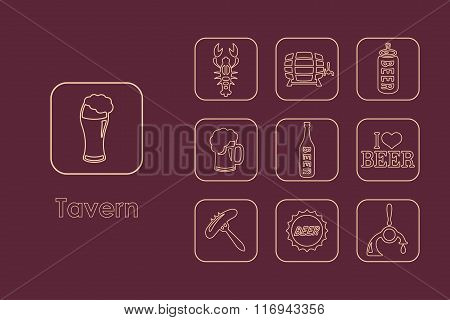 Set of tavern simple icons