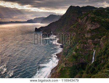 Madeira island, Portugal, Europe, sunset, rocky coastline, waterfalls