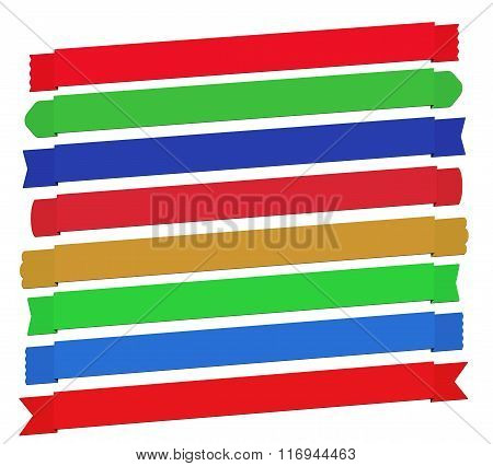 Set of Semi-diagonal Banner Ribbons In Different Styles