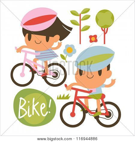 Cartoon vector flat style illustration of boy and girl riding bicycle outdoors