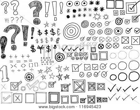 Hand-drawn Doodles -Asterisks, Bullets, Check marks, Punctuation marks (Vector)