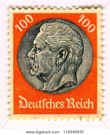 GOMEL,BELARUS - CIRCA FEBRUARY 2016: A stamp printed in Germany shows image of the Paul Ludwig Hans Anton von Beneckendorff und von Hindenburg, was a German  President of Germany, circa 1940.