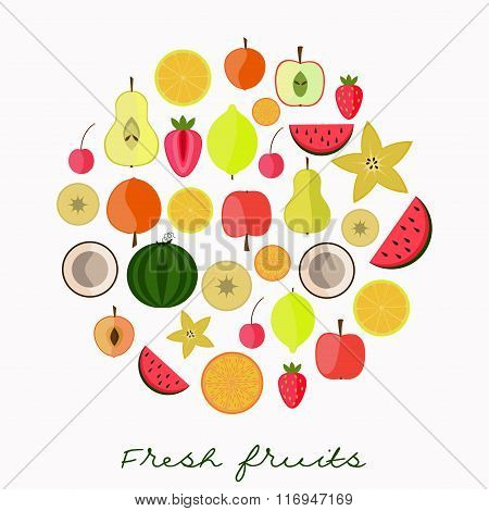 Flat fruits collection