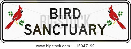 Road Sign Used In The Us State Of Virginia - Bird Sanctuary