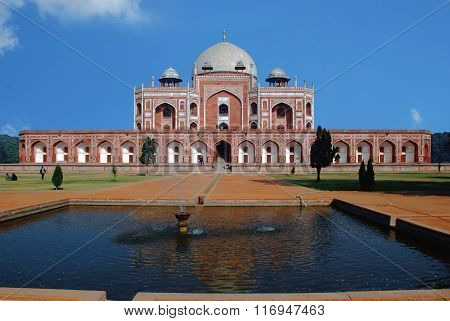 Delhi. Main part of the Humayun's Tomb in Interpretation Centre.