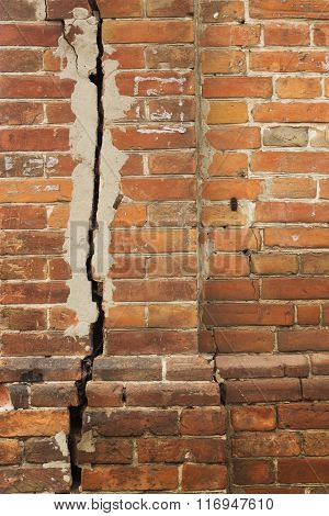 Old Cracked Brick Wall Rough Texture With Light Seams