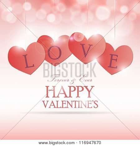 Romantic card with hearts on pink bright background. Vector illu