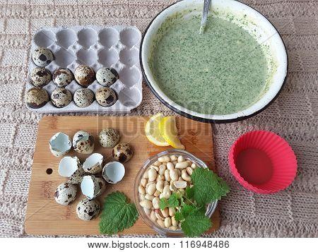 Nettles Lemon Peanut Muffins with quail eggs