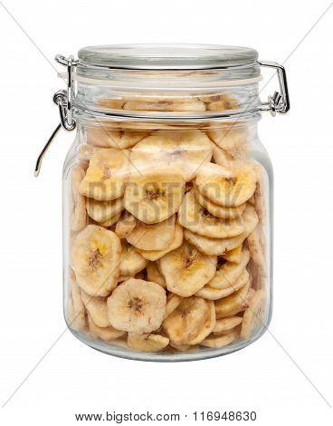 Dried Banana Chips In A Glass Canister