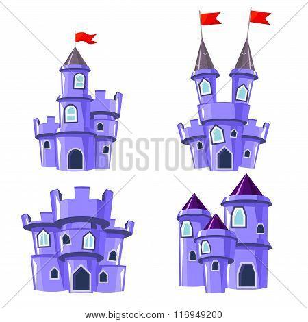 Set Of Blue Fairy Castles