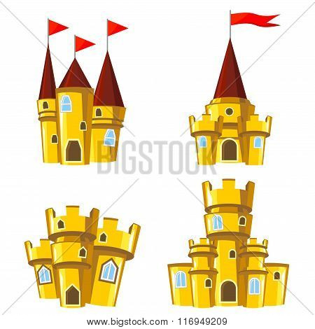 Set Of Gold Fairy Castles