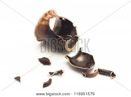 Broken Brown Ceramic Cup Lies On A White Background