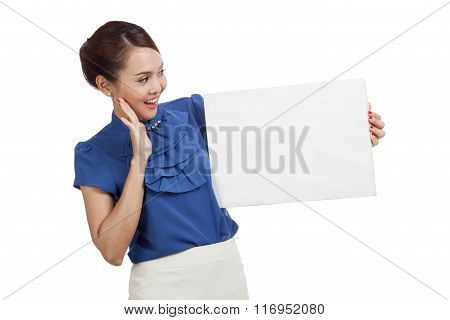 Excited Young Asian Woman With Blank Sign