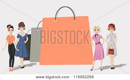 Design template with shopping paper bags and pretty women