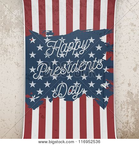 Happy Presidents Day on US national Flag Banner