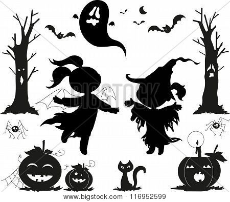 Halloween black vectors for kids