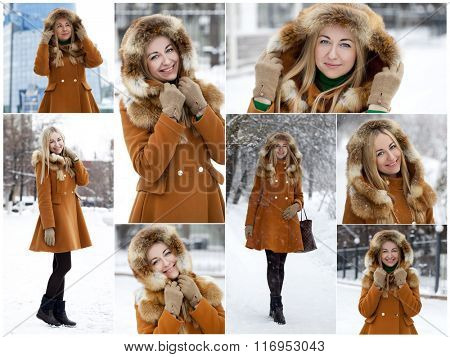 Portrait in full growth of a beautiful young blonde woman on the background of a winter street