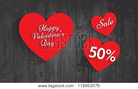Valentine`s Day Sale, 50 Percent Discount. Vector Eps 10.