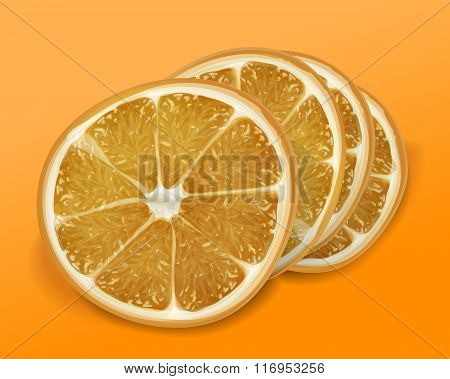 Orange of slices on orange and yellow background. Isolated vecto