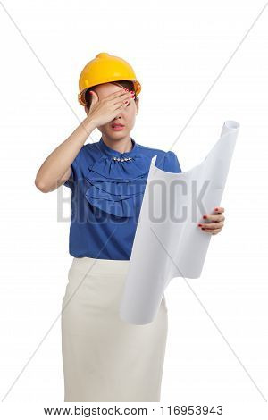 Tried Asian Engineer Woman With Blueprints