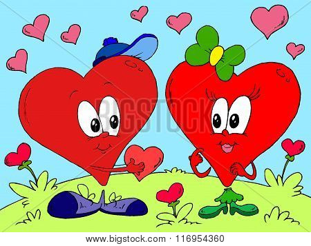 Happy valentines day. St. Valentine's Day. February valentine. February 14th. Happy february. Winter. Love. Togetherness. Two happy, enamored hearts. Hearts in love. Vector, illustration, creative image. Present.