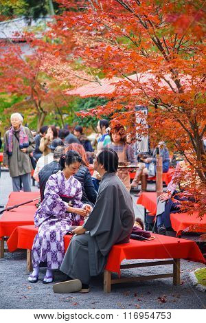 Japanese Couple With Traditional  Kimono At Eikando Temple