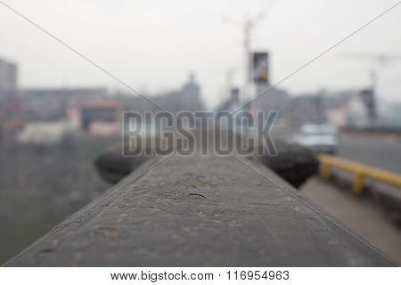 Handrail of the bridge close-up