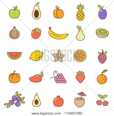 Fruit  icons set.Vector