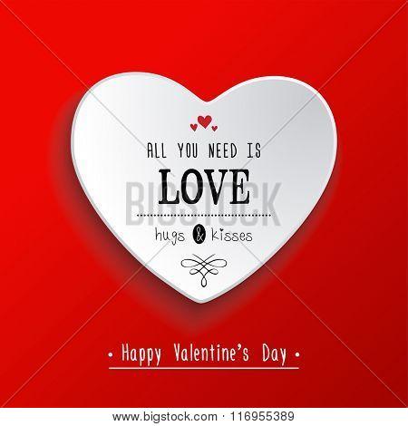 Valentine's day  paper heart sticker. Vector illustration