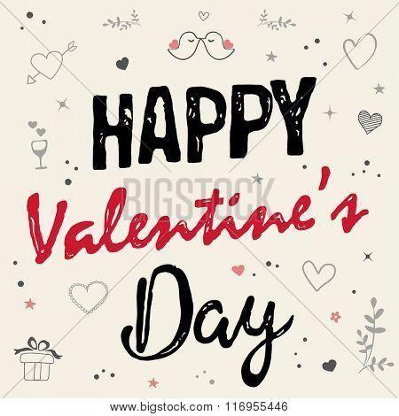 Happy Valentine's Day Card .Typography Design
