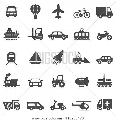 Transportation black icons set.Vector