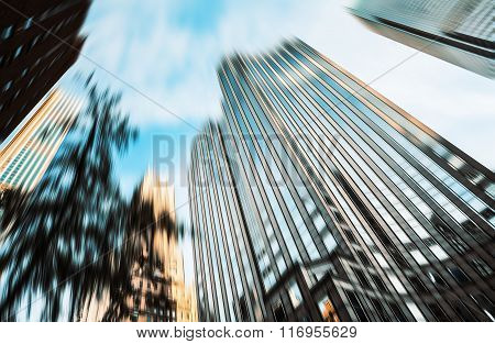 Blurred Image Of Manhattan Buildings