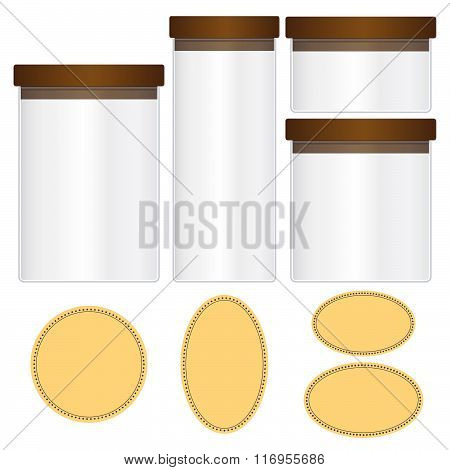 Glass Jars Set And Labels Isolated On Black Background