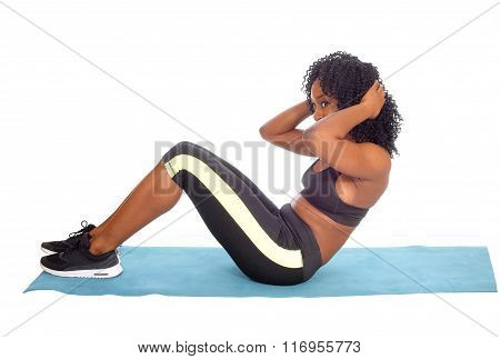 African American Woman Doing Sit-up's.