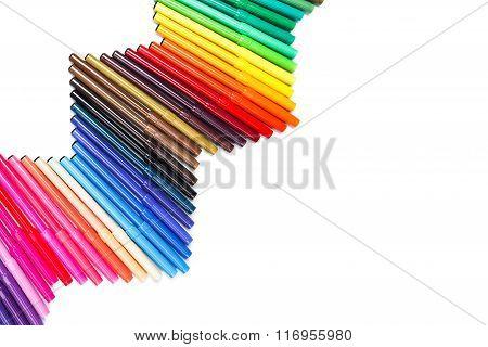 Wave of colorful felt-tip pens