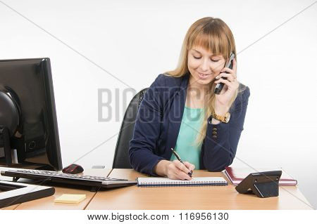 Business Woman Talking On The Phone Records In A Notebook Date Business Meeting