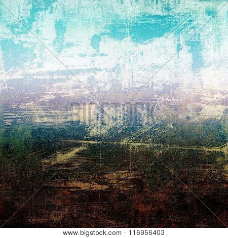 Weathered and distressed grunge background with different color patterns: brown; white; blue; green; pink